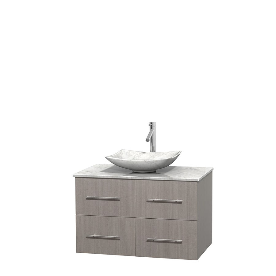 Wyndham Collection Centra Gray Oak 36-in Vessel Single Sink Oak Bathroom Vanity with Natural Marble Top