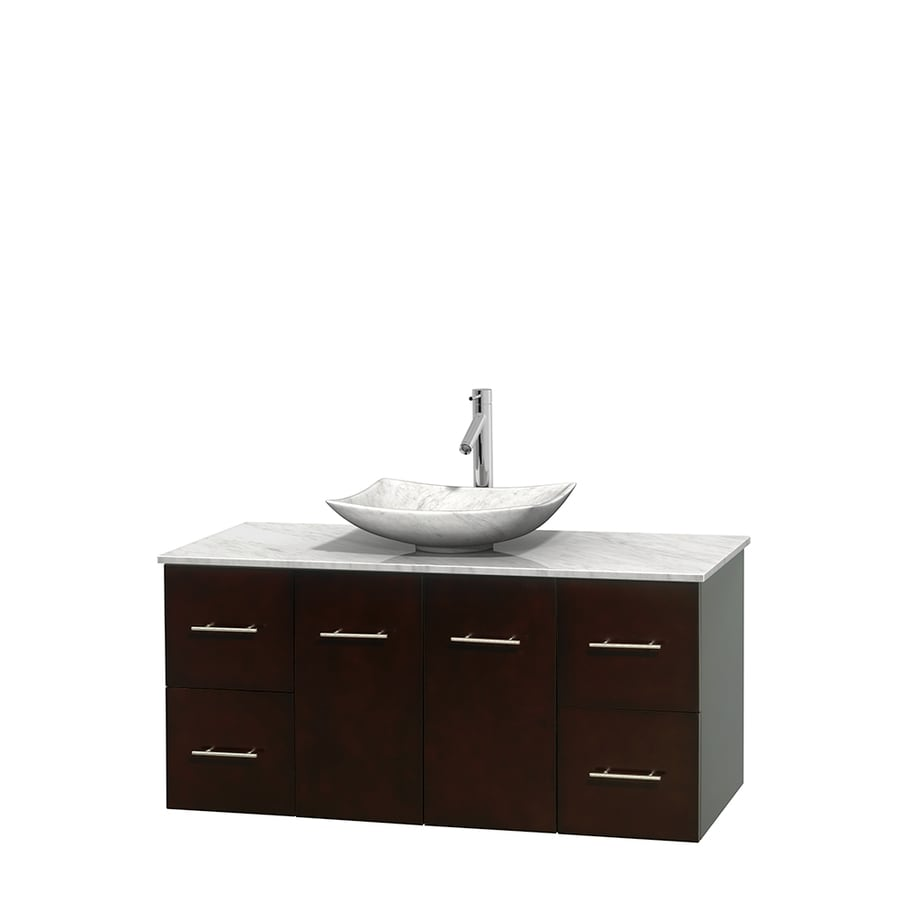 Wyndham Collection Centra Espresso Single Vessel Sink Bathroom Vanity with Natural Marble Top (Common: 48-in x 21.5-in; Actual: 48-in x 21.5-in)