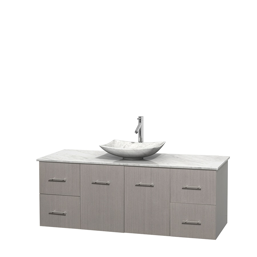 Wyndham Collection Centra Gray Oak 60-in Vessel Single Sink Oak Bathroom Vanity with Natural Marble Top