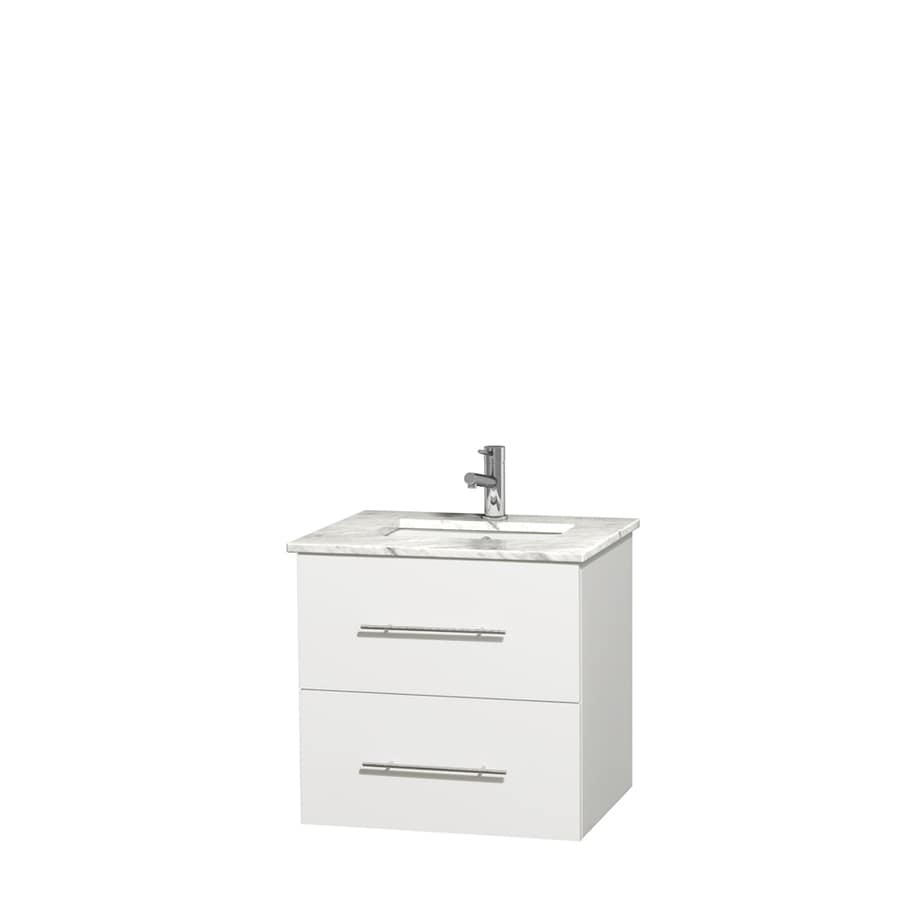 Wyndham Collection Centra White Undermount Single Sink Bathroom Vanity with Natural Marble Top (Common: 24-in x 19-in; Actual: 24-in x 19-in)