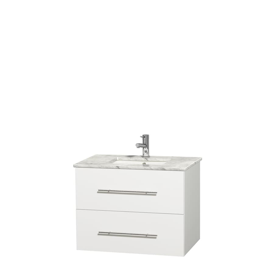 Wyndham Collection Centra White Undermount Single Sink Bathroom Vanity with Natural Marble Top (Common: 30-in x 20.5-in; Actual: 30-in x 20.5-in)
