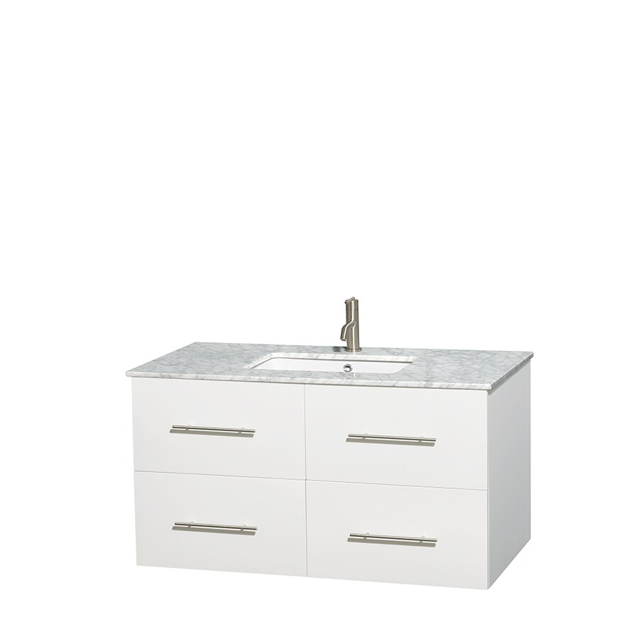 Wyndham Collection Centra White Undermount Single Sink Bathroom Vanity with Natural Marble Top (Common: 42-in x 21.5-in; Actual: 42-in x 21.5-in)
