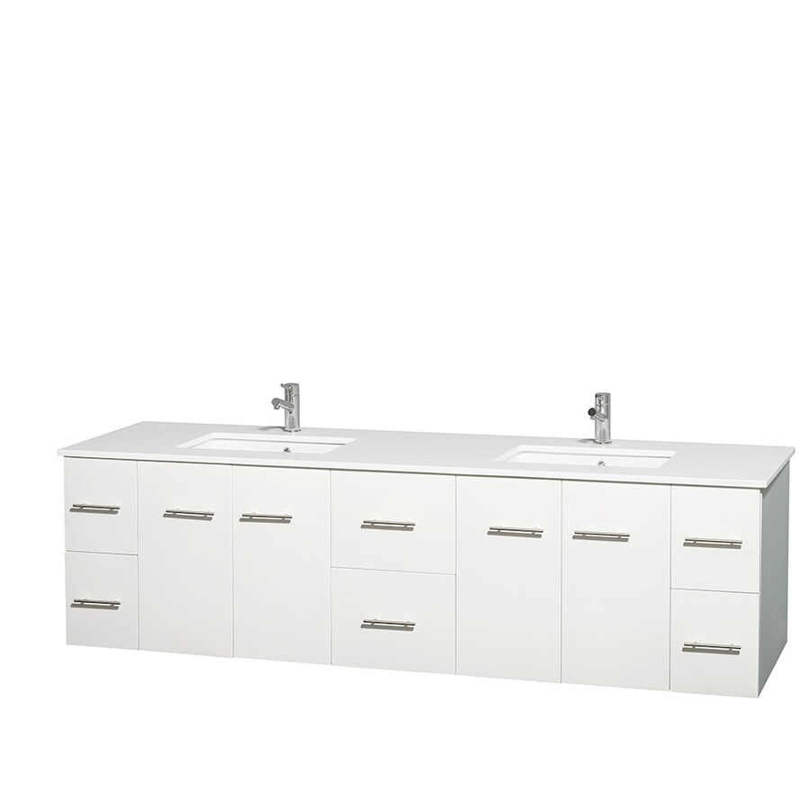 Wyndham Collection Centra White Undermount Double Sink Bathroom Vanity with Engineered Stone Top (Common: 80-in x 22.5-in; Actual: 80-in x 22.25-in)