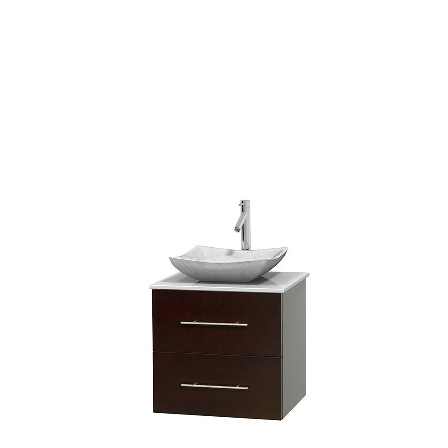 Wyndham Collection Centra Espresso 24-in Vessel Single Sink Oak Bathroom Vanity with Engineered Stone Top