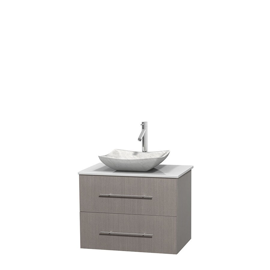 Wyndham Collection Centra Gray Oak 30-in Vessel Single Sink Oak Bathroom Vanity with Engineered Stone Top