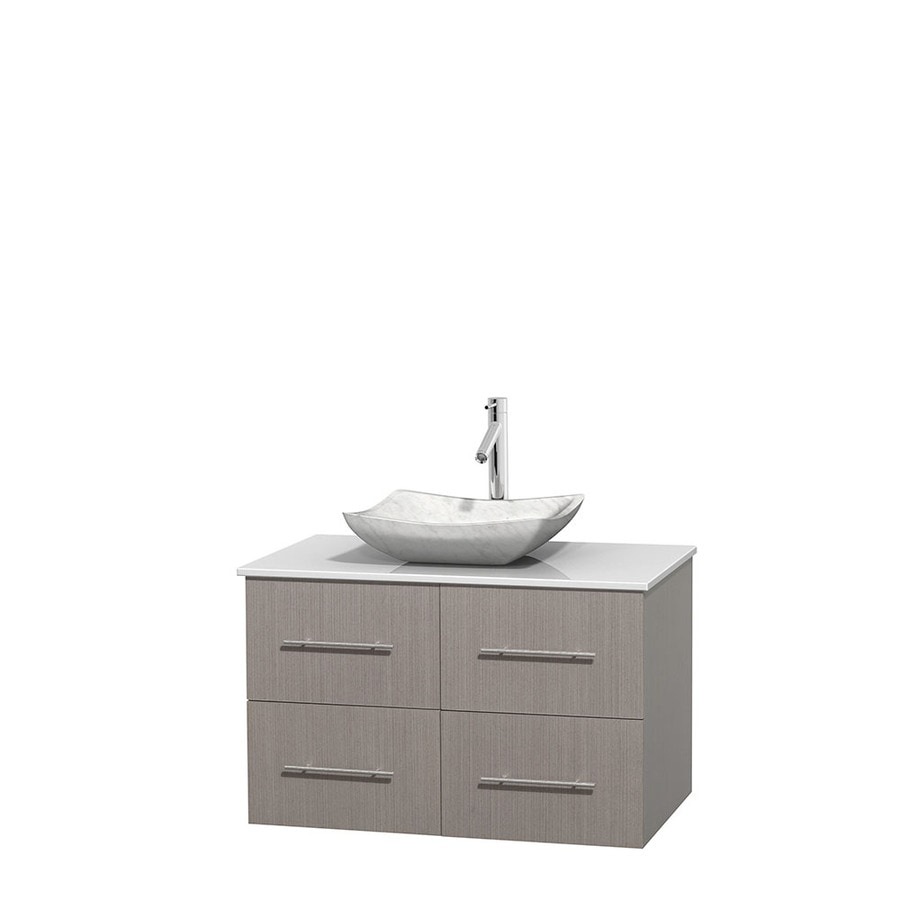 Wyndham Collection Centra Gray Oak Single Vessel Sink Bathroom Vanity with Engineered Stone Top (Common: 36-in x 21.5-in; Actual: 36-in x 21.5-in)