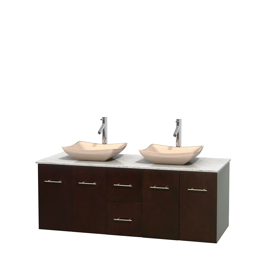 Wyndham Collection Centra Espresso Double Vessel Sink Bathroom Vanity with Natural Marble Top (Common: 60-in x 22.5-in; Actual: 60-in x 22.25-in)