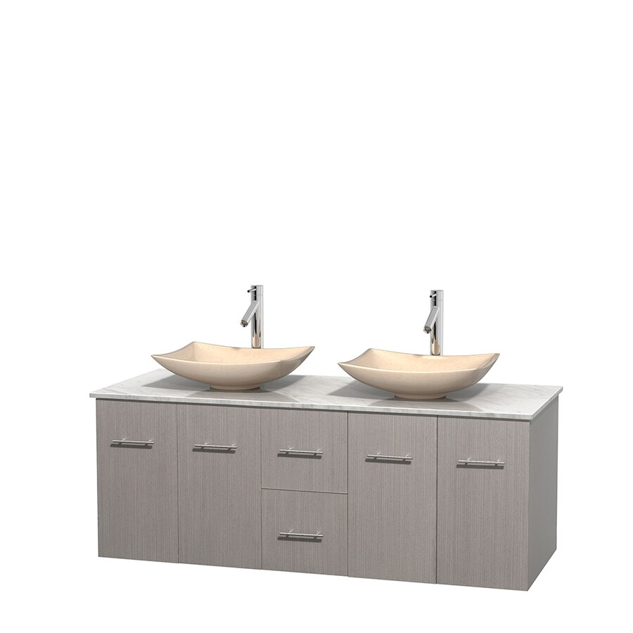 Wyndham Collection Centra Gray Oak Double Vessel Sink Bathroom Vanity with Natural Marble Top (Common: 60-in x 22.5-in; Actual: 60-in x 22.25-in)