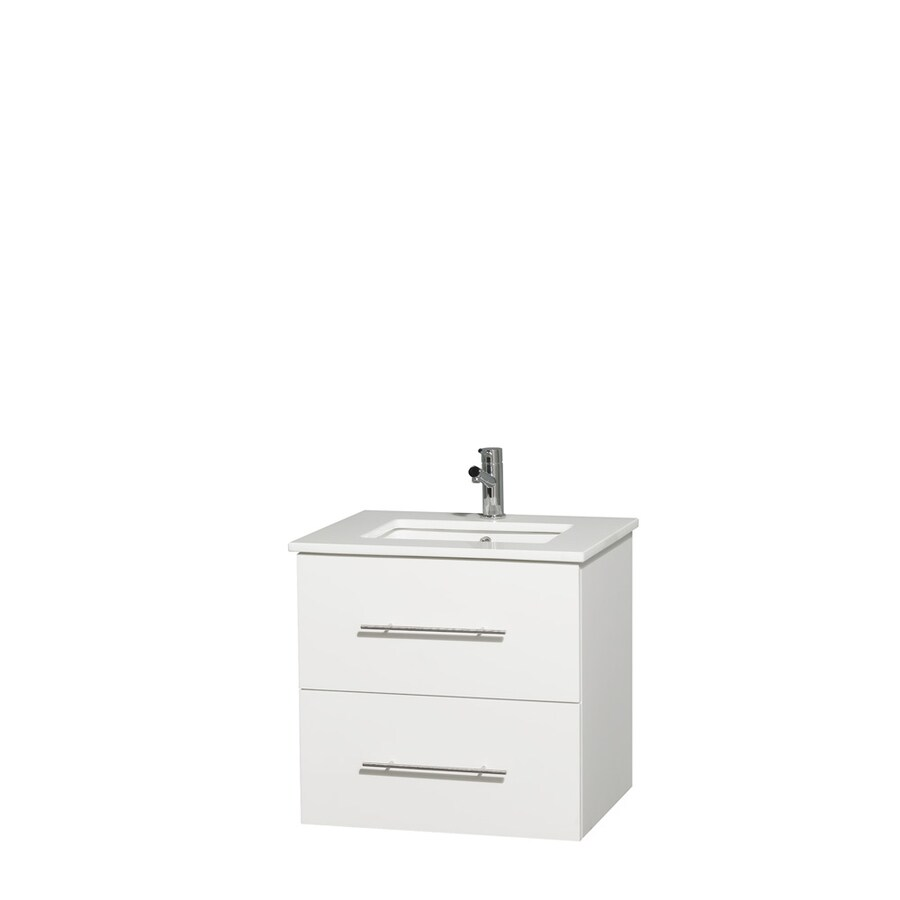 Wyndham Collection Centra White Undermount Single Sink Bathroom Vanity with Engineered Stone Top (Common: 24-in x 19-in; Actual: 24-in x 19-in)