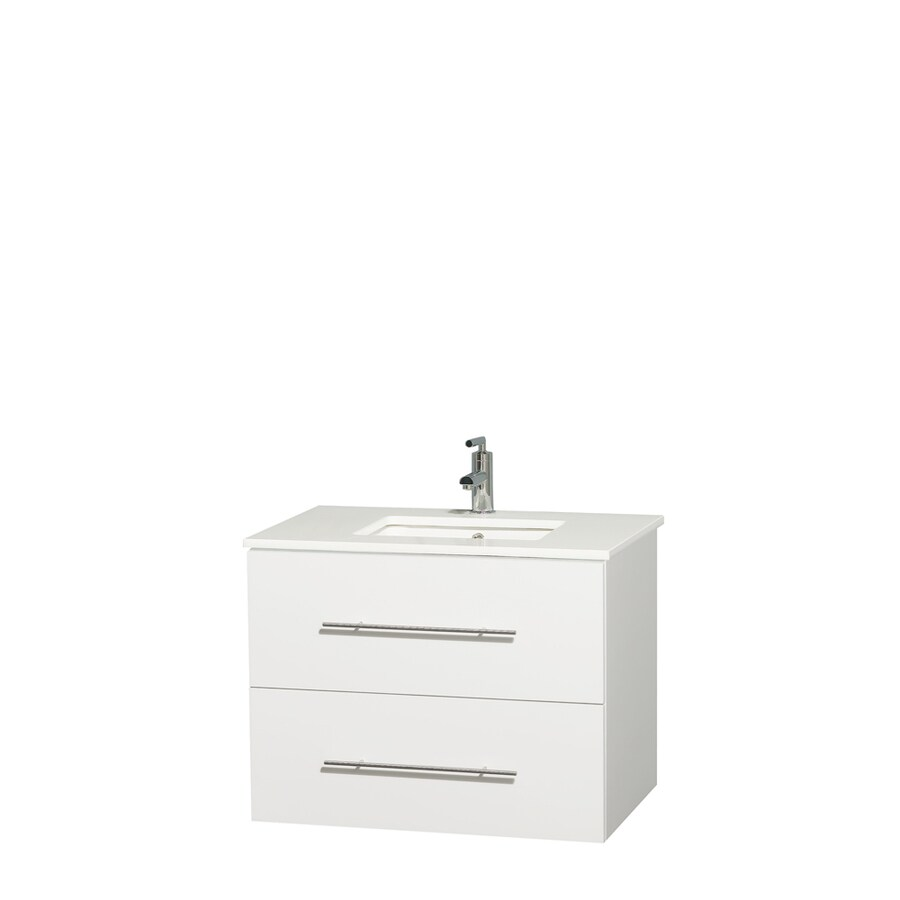 Wyndham Collection Centra White Undermount Single Sink Bathroom Vanity with Engineered Stone Top (Common: 30-in x 20.5-in; Actual: 30-in x 20.5-in)