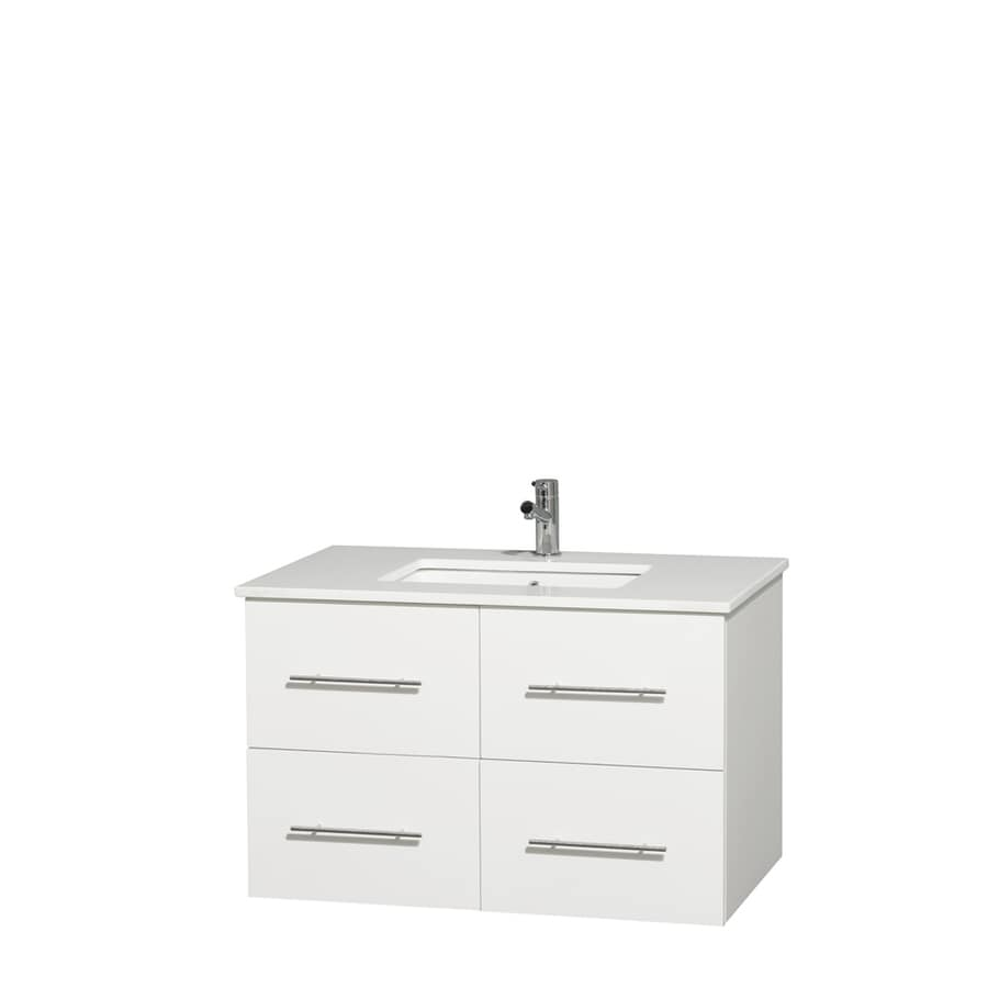 Wyndham Collection Centra White Undermount Single Sink Bathroom Vanity with Engineered Stone Top (Common: 36-in x 21.5-in; Actual: 36-in x 21.5-in)