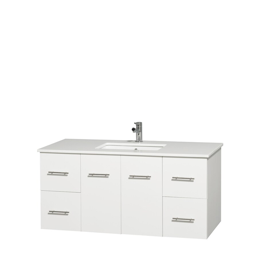Wyndham Collection Centra White Undermount Single Sink Bathroom Vanity with Engineered Stone Top (Common: 48-in x 21.5-in; Actual: 48-in x 21.5-in)