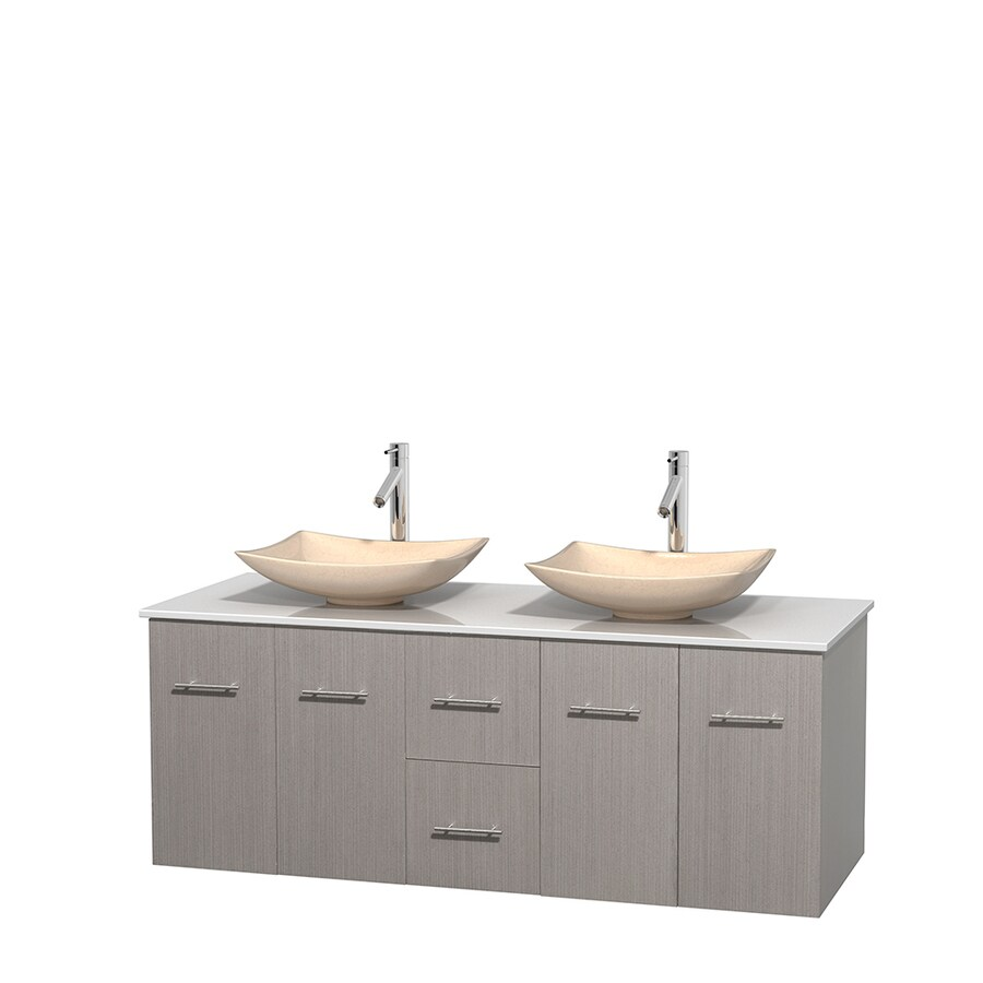 Wyndham Collection Centra Gray Oak Double Vessel Sink Bathroom Vanity with Engineered Stone Top (Common: 60-in x 22.5-in; Actual: 60-in x 22.25-in)