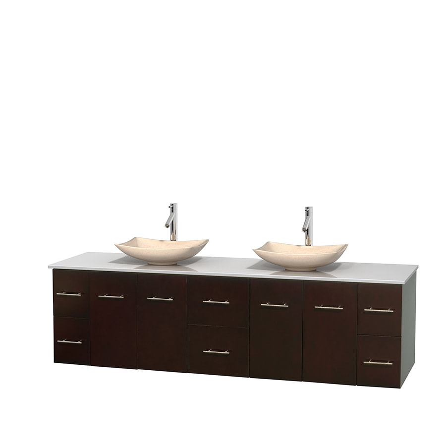 Wyndham Collection Centra Espresso Double Vessel Sink Bathroom Vanity with Engineered Stone Top (Common: 80-in x 22.5-in; Actual: 80-in x 22.25-in)