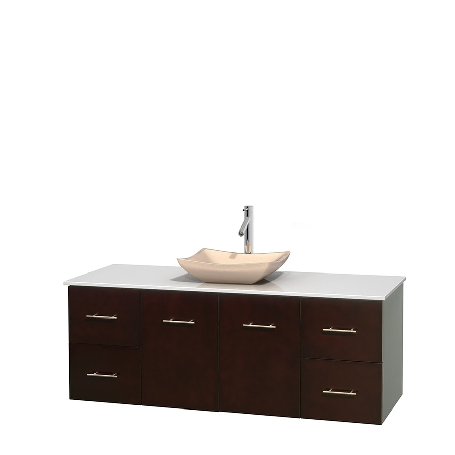 Wyndham Collection Centra Espresso 60-in Vessel Single Sink Oak Bathroom Vanity with Engineered Stone Top