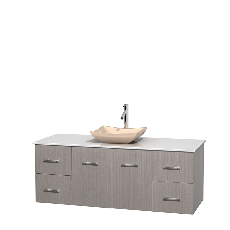 Wyndham Collection Centra Gray Oak Single Vessel Sink Bathroom Vanity with Engineered Stone Top (Common: 60-in x 22.5-in; Actual: 60-in x 22.25-in)
