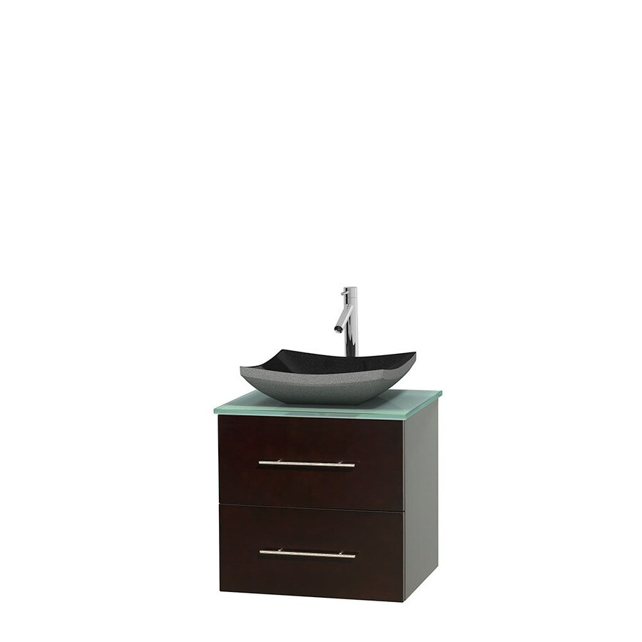 Wyndham Collection Centra Espresso Single Vessel Sink Bathroom Vanity with Tempered Glass and Glass Top (Common: 24-in x 19-in; Actual: 24-in x 19-in)
