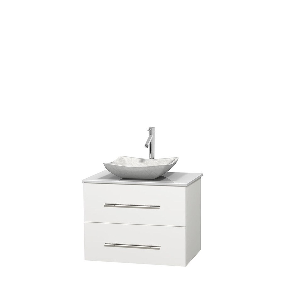 Wyndham Collection Centra White 30-in Vessel Single Sink Oak Bathroom Vanity with Engineered Stone Top
