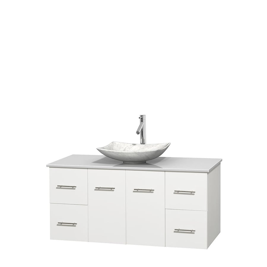 Wyndham Collection Centra White Single Vessel Sink Bathroom Vanity with Engineered Stone Top (Common: 48-in x 21.5-in; Actual: 48-in x 21.5-in)