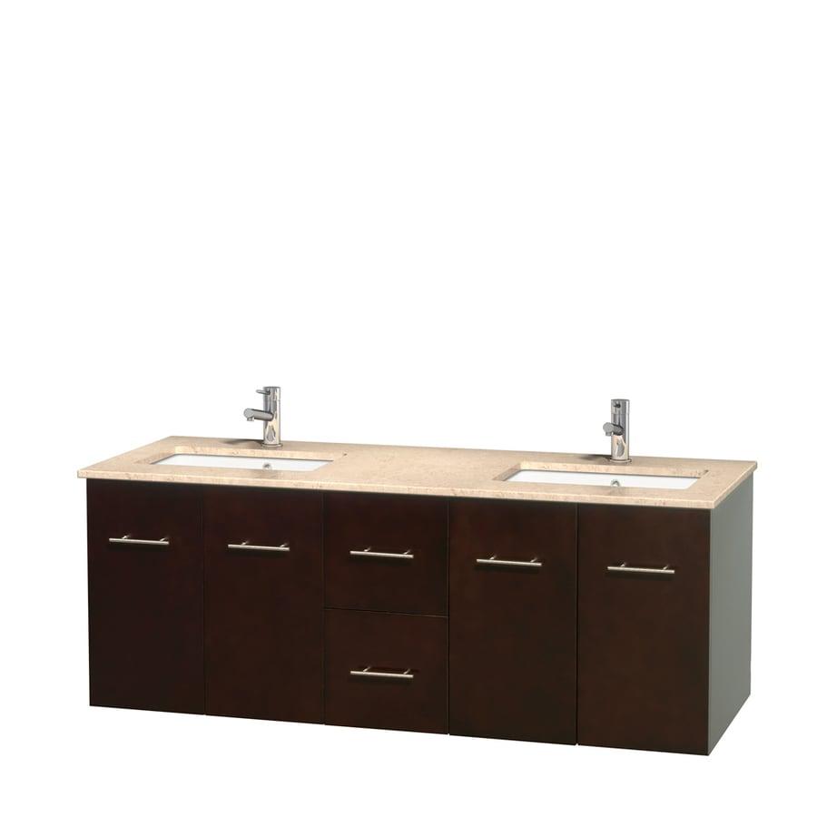 60 Vanity Top Double Sink Shop Wyndham Collection Centra Espresso Undermount Double
