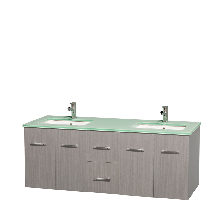 Wyndham Collection Centra Gray Oak Undermount Double Sink Bathroom Vanity with Tempered Glass and Glass Top (Common: 60-in x 22.5-in; Actual: 60-in x 22.25-in)