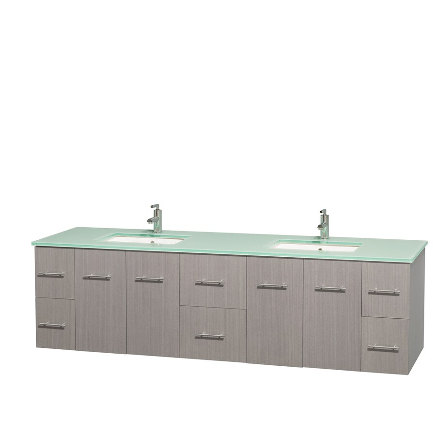 Wyndham Collection Centra Gray Oak Undermount Double Sink Bathroom Vanity with Tempered Glass and Glass Top (Common: 80-in x 22.5-in; Actual: 80-in x 22.25-in)