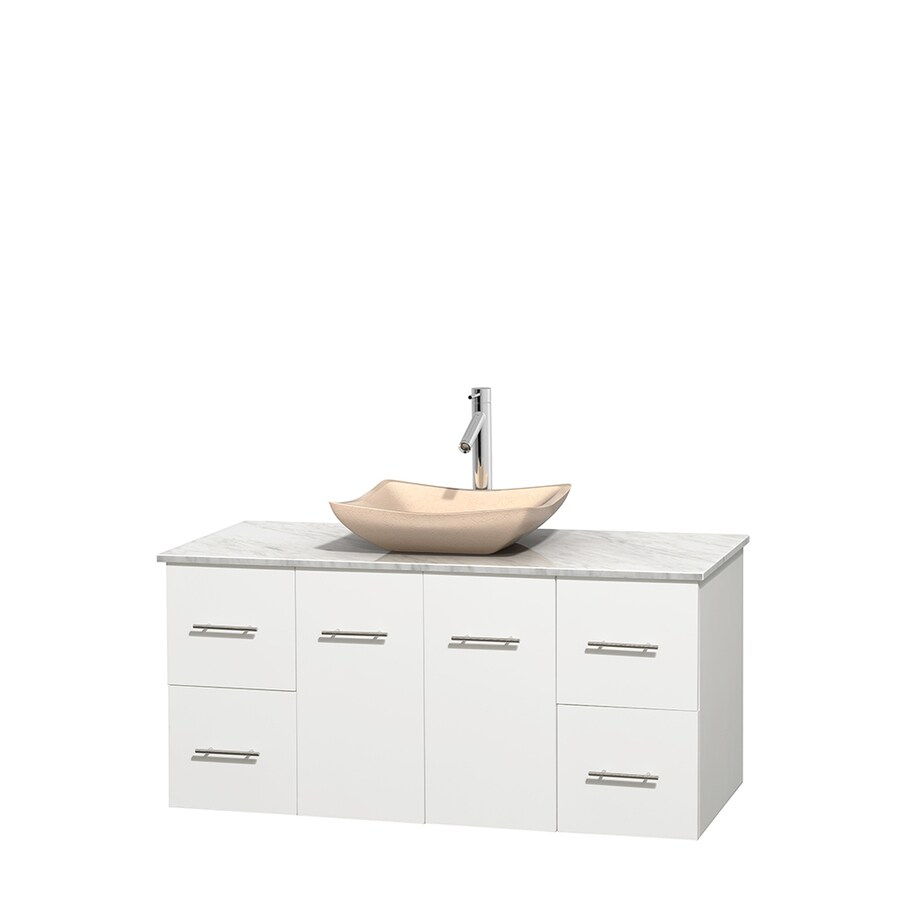 Wyndham Collection Centra White 48-in Vessel Single Sink Oak Bathroom Vanity with Natural Marble Top