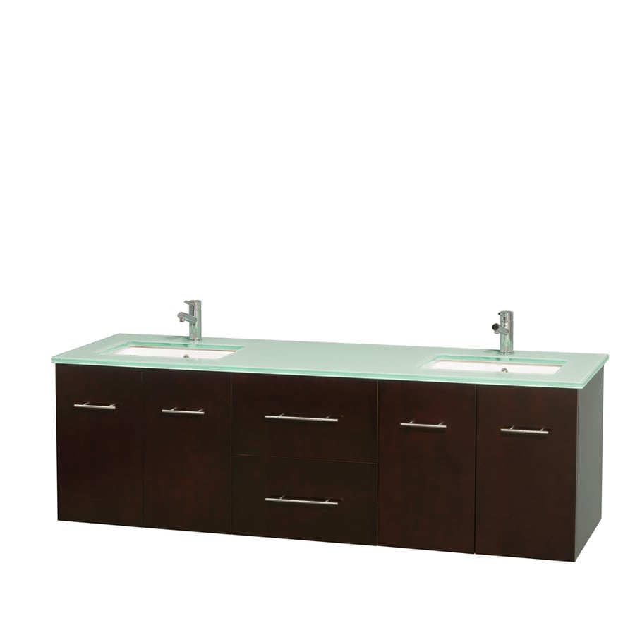 Wyndham Collection Centra Espresso 72-in Undermount Double Sink Oak Bathroom Vanity with Tempered Glass and Glass Top