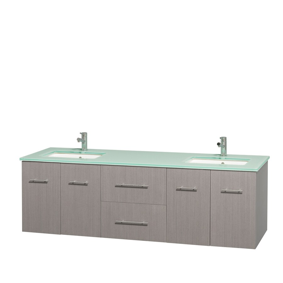 Wyndham Collection Centra Gray Oak Undermount Double Sink Bathroom Vanity with Tempered Glass and Glass Top (Common: 72-in x 22.5-in; Actual: 72-in x 22.25-in)