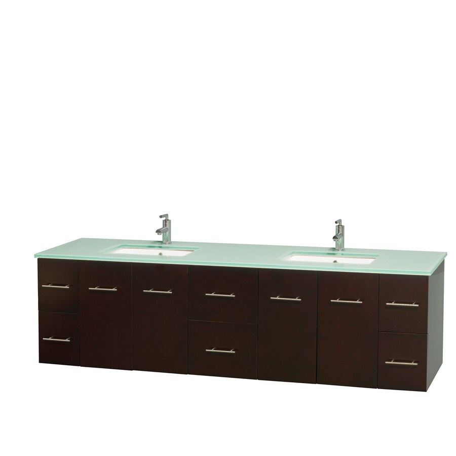 Wyndham Collection Centra Espresso Undermount Double Sink Bathroom Vanity with Tempered Glass and Glass Top (Common: 80-in x 22.5-in; Actual: 80-in x 22.25-in)