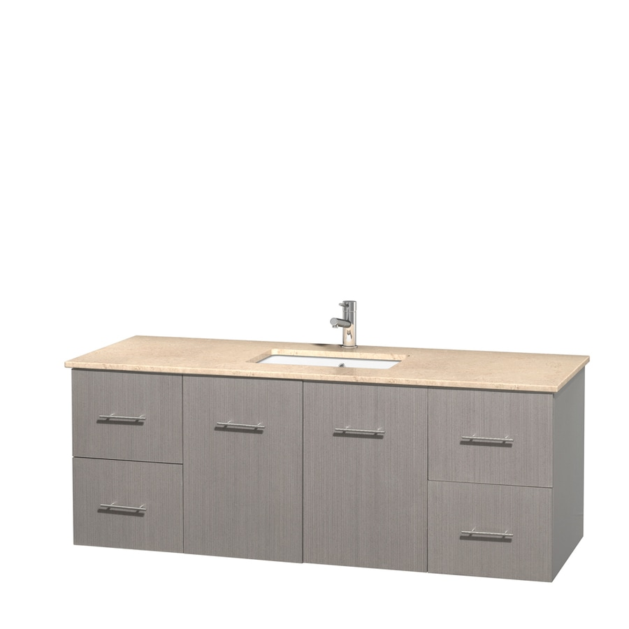 Wyndham Collection Centra Gray Oak 60-in Undermount Single Sink Oak Bathroom Vanity with Natural Marble Top