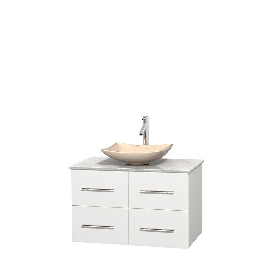 Wyndham Collection Centra White Single Vessel Sink Bathroom Vanity with Natural Marble Top (Common: 36-in x 21.5-in; Actual: 36-in x 21.5-in)