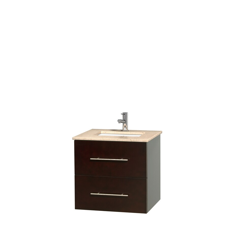 Wyndham Collection Centra Espresso Undermount Single Sink Bathroom Vanity with Natural Marble Top (Common: 24-in x 19-in; Actual: 24-in x 19-in)