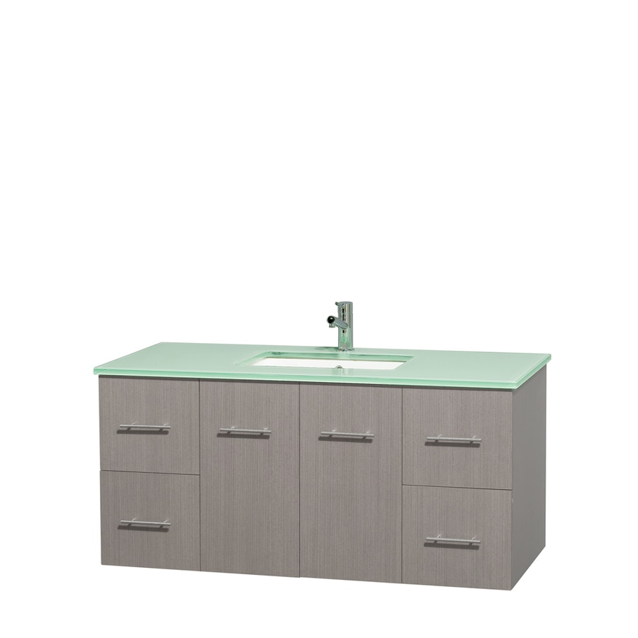 Wyndham Collection Centra Gray Oak Undermount Single Sink Bathroom Vanity with Tempered Glass and Glass Top (Common: 48-in x 21.5-in; Actual: 48-in x 21.5-in)