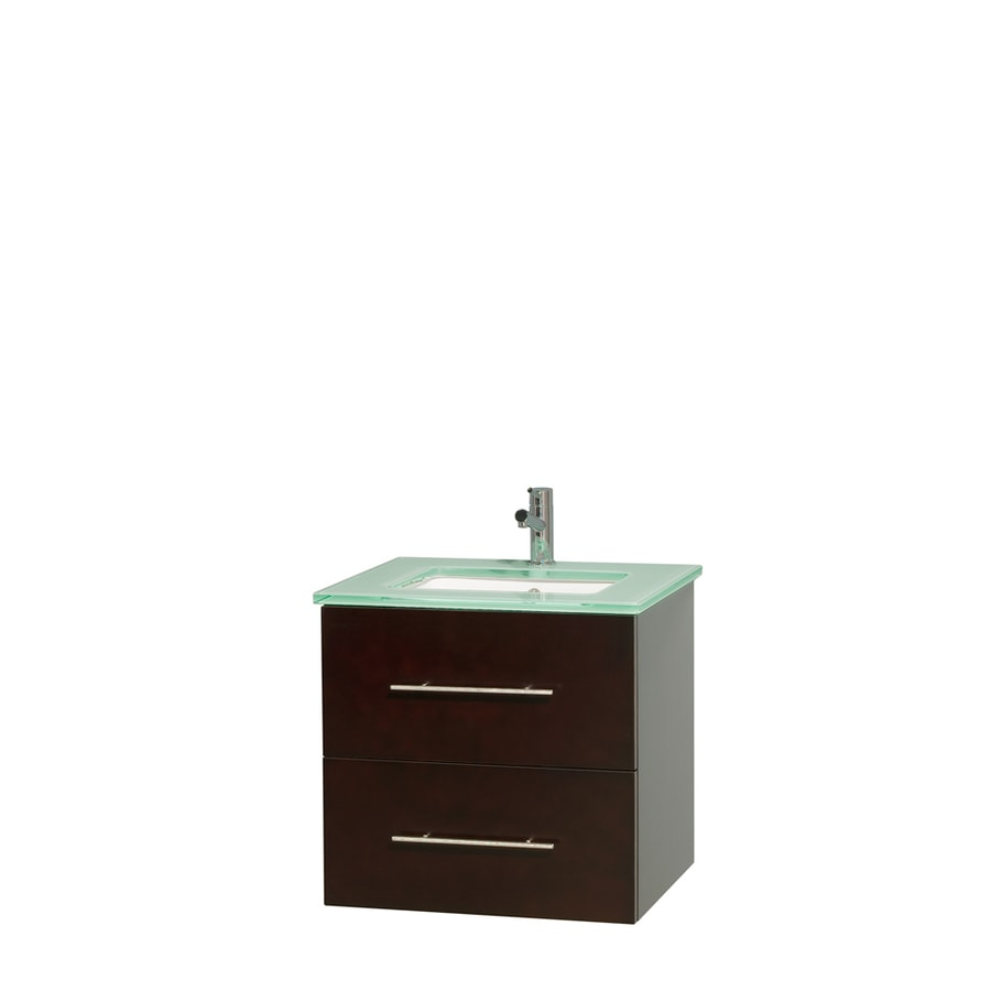 Wyndham Collection Centra Espresso Undermount Single Sink Bathroom Vanity with Tempered Glass and Glass Top (Common: 24-in x 19-in; Actual: 24-in x 19-in)