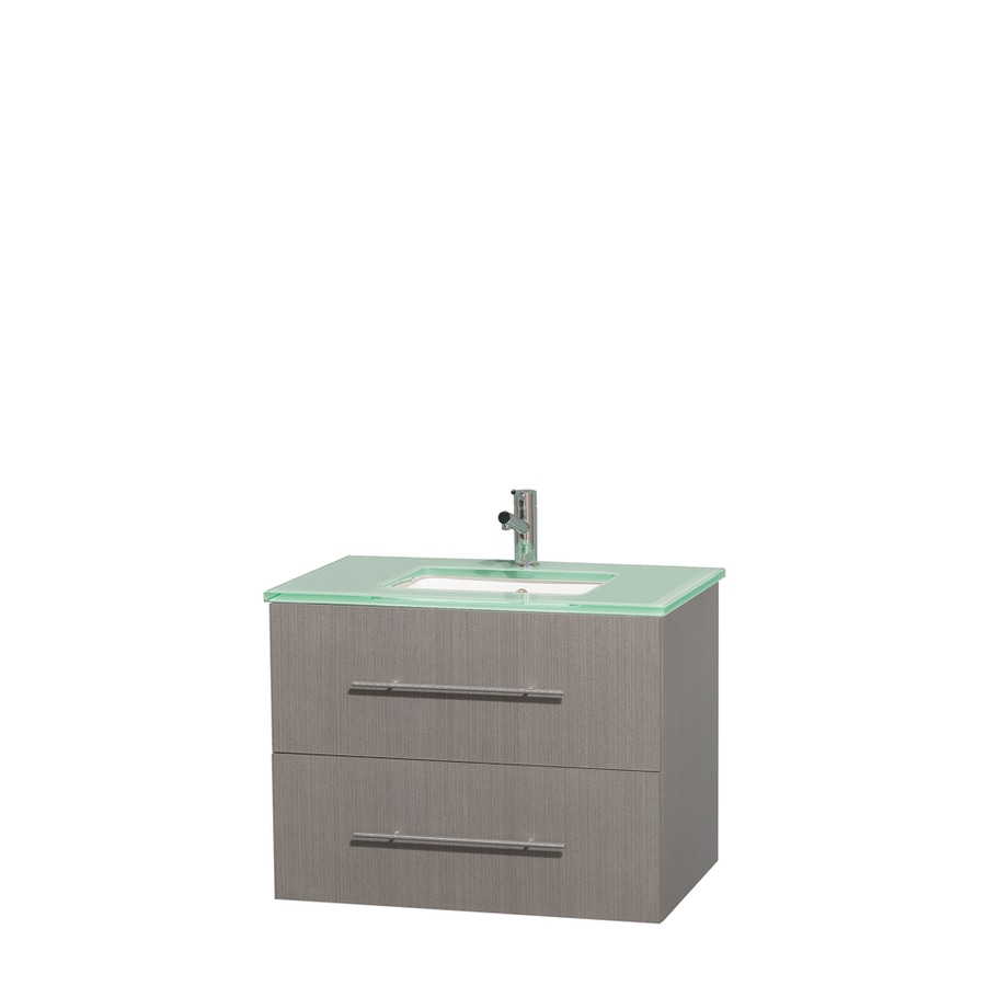 Wyndham Collection Centra Gray Oak Undermount Single Sink Bathroom Vanity with Tempered Glass and Glass Top (Common: 30-in x 20.5-in; Actual: 30-in x 20.5-in)