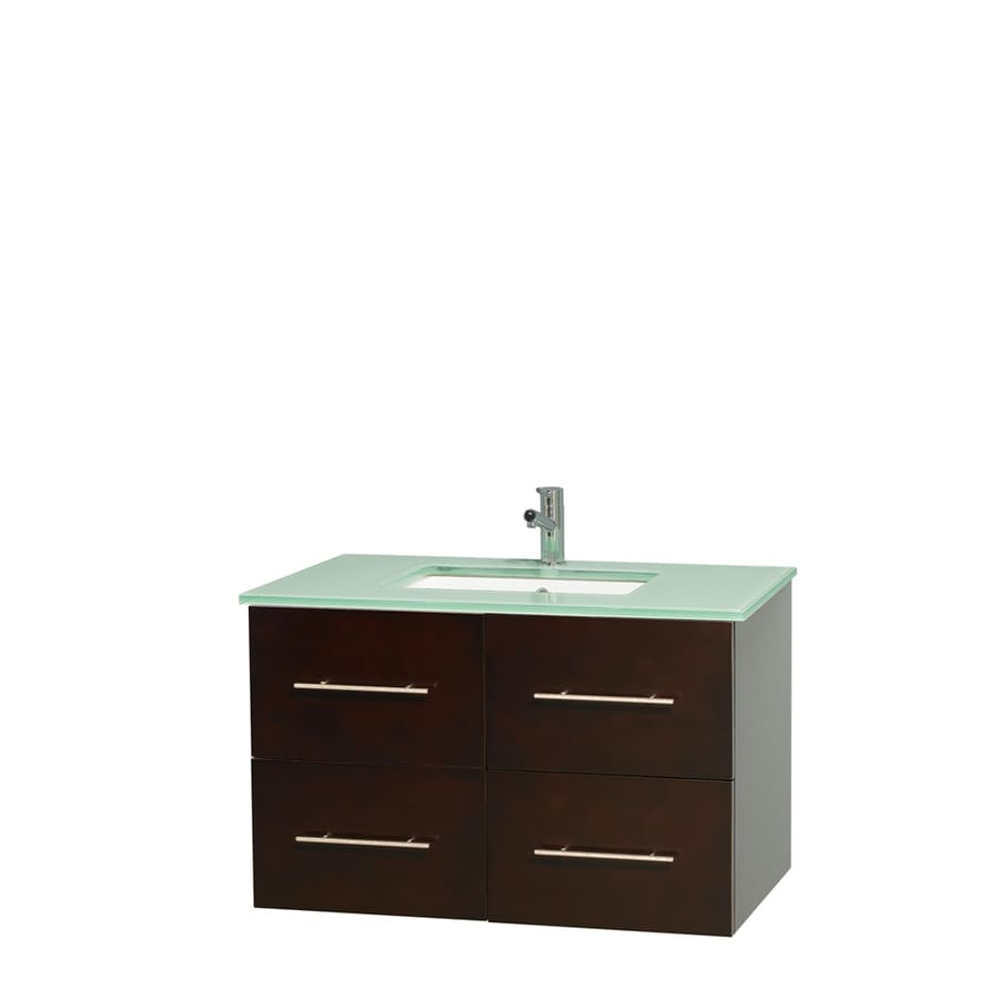 Wyndham Collection Centra Espresso Undermount Single Sink Bathroom Vanity with Tempered Glass and Glass Top (Common: 36-in x 21.5-in; Actual: 36-in x 21.5-in)