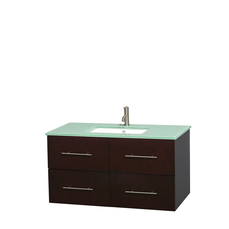 Wyndham Collection Centra Espresso Undermount Single Sink Bathroom Vanity with Tempered Glass and Glass Top (Common: 42-in x 21.5-in; Actual: 42-in x 21.5-in)