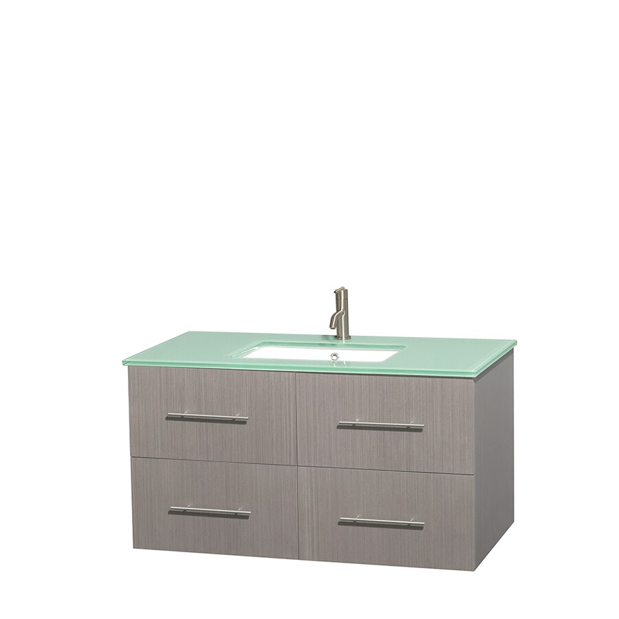 Wyndham Collection Centra Gray Oak Undermount Single Sink Bathroom Vanity with Tempered Glass and Glass Top (Common: 42-in x 21.5-in; Actual: 42-in x 21.5-in)