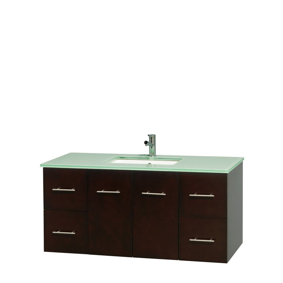 Wyndham Collection Centra Espresso Undermount Single Sink Bathroom Vanity with Tempered Glass and Glass Top (Common: 48-in x 21.5-in; Actual: 48-in x 21.5-in)