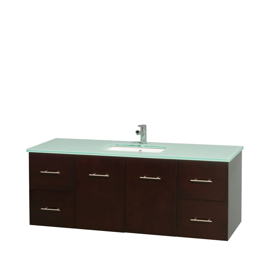 Wyndham Collection Centra Espresso Undermount Single Sink Bathroom Vanity with Tempered Glass and Glass Top (Common: 60-in x 22.5-in; Actual: 60-in x 22.25-in)