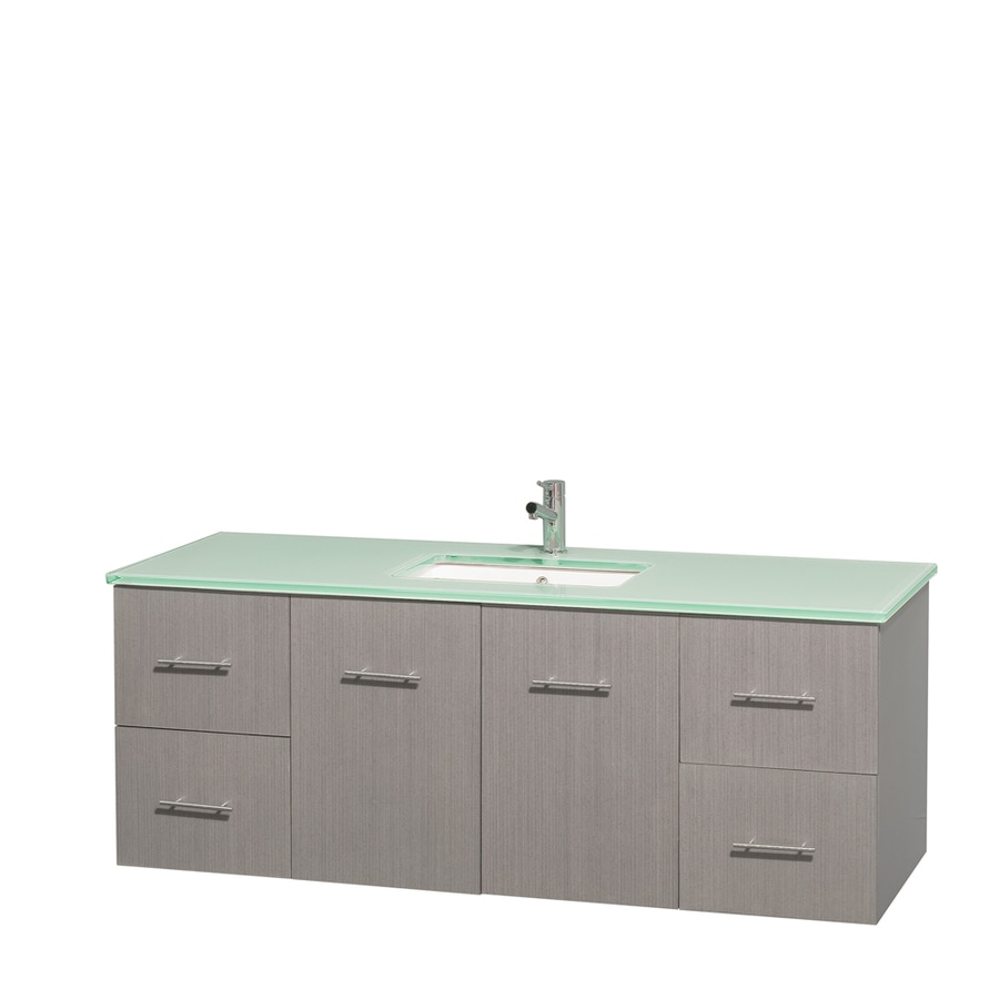 Shop wyndham collection centra gray oak undermount single sink bathroom vanity with tempered 60 in bathroom vanities with single sink