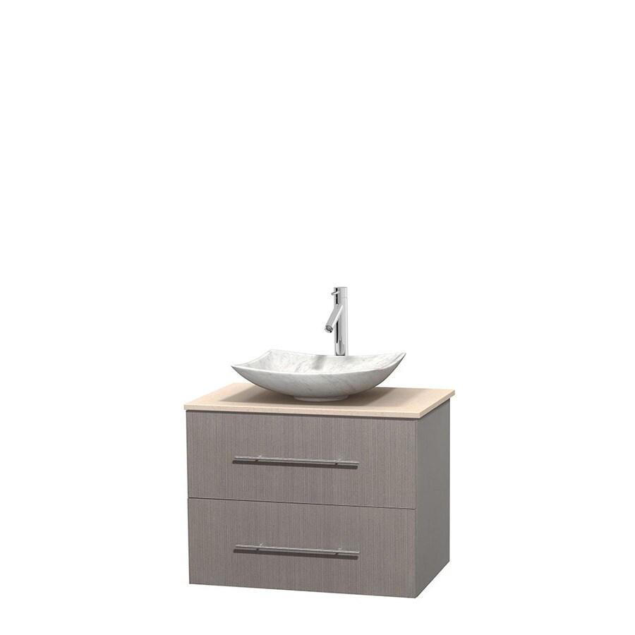 Wyndham Collection Centra Gray Oak Single Vessel Sink Bathroom Vanity with Natural Marble Top (Common: 30-in x 20.5-in; Actual: 30-in x 20.5-in)