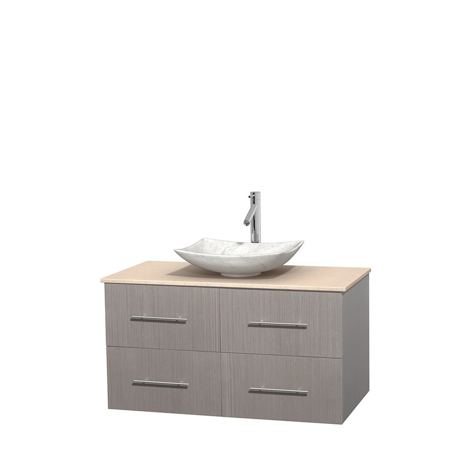 Wyndham Collection Centra Gray Oak Single Vessel Sink Bathroom Vanity with Natural Marble Top (Common: 42-in x 21.5-in; Actual: 42-in x 21.5-in)