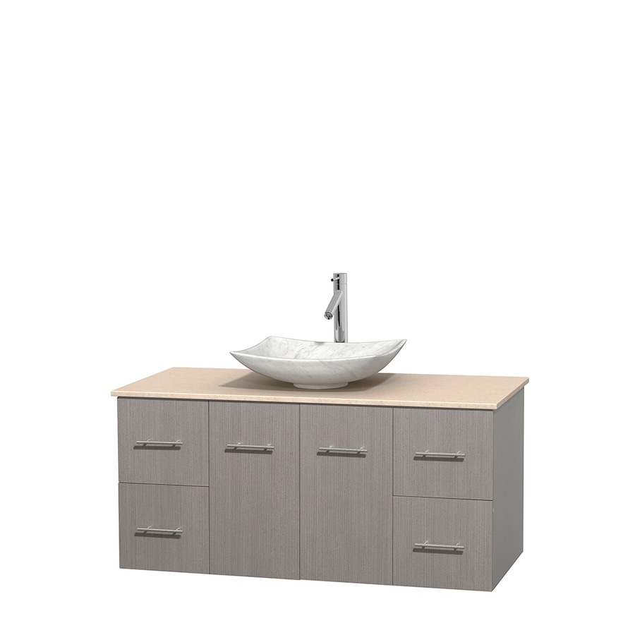 Wyndham Collection Centra Gray Oak Single Vessel Sink Bathroom Vanity with Natural Marble Top (Common: 48-in x 21.5-in; Actual: 48-in x 21.5-in)