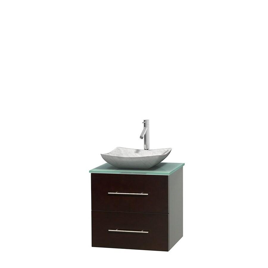 Shop Wyndham Collection Centra Espresso Single Vessel Sink Bathroom Vanity With Tempered Glass