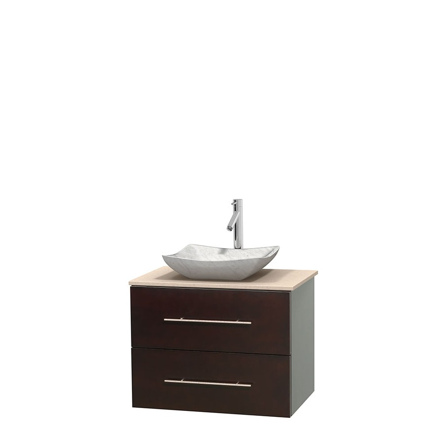 Wyndham Collection Centra Espresso Single Vessel Sink Bathroom Vanity with Natural Marble Top (Common: 30-in x 20.5-in; Actual: 30-in x 20.5-in)