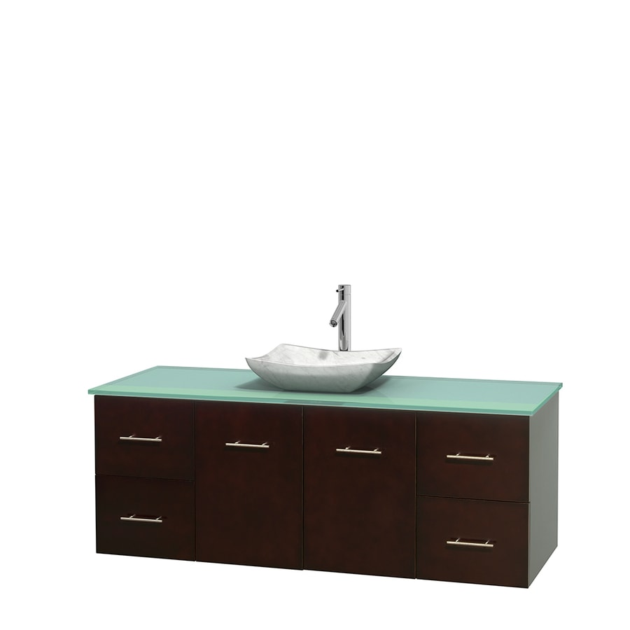 Wyndham Collection Centra Espresso Single Vessel Sink Bathroom Vanity with Tempered Glass and Glass Top (Common: 60-in x 22.5-in; Actual: 60-in x 22.25-in)