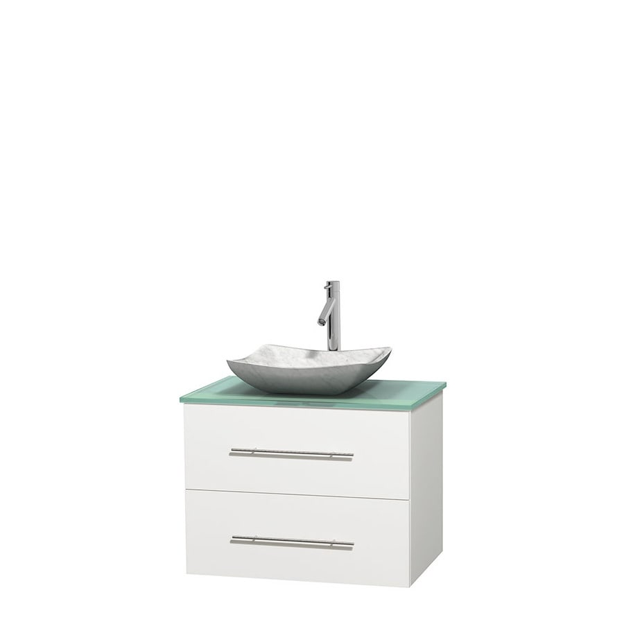 Wyndham Collection Centra White Single Vessel Sink Bathroom Vanity with Tempered Glass and Glass Top (Common: 30-in x 20.5-in; Actual: 30-in x 20.5-in)