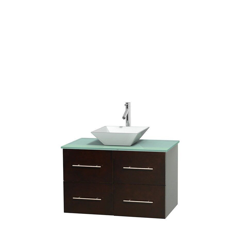 Wyndham Collection Centra Espresso Single Vessel Sink Bathroom Vanity with Tempered Glass and Glass Top (Common: 36-in x 21.5-in; Actual: 36-in x 21.5-in)